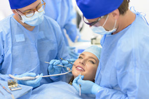 oral surgery being performed